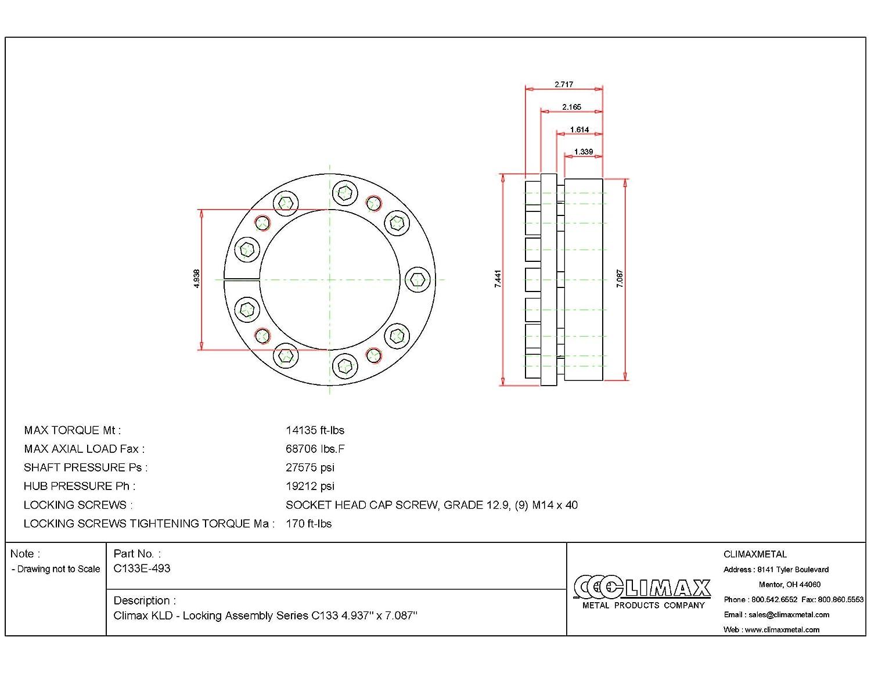 Steel 2.6 Width 4-15//16 Shaft Diameter Climax Metals C133E-493 Series 133 Locking Assembly 4.94 ID