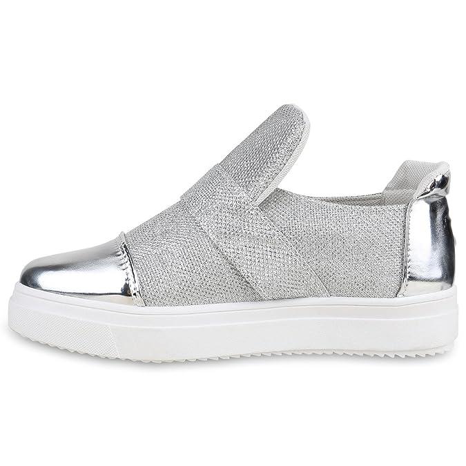 Stiefelparadies Damen Sneakers Zipper Metallic Cap Sneaker Low Kroko Print Sport Trainers Flach Flats Slip-Ons Schuhe 134349 Grau Metallic 40 Flandell exkGorb