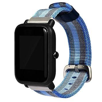 taottao deportivo reloj correa de nailon de repuesto para XIAOMI huami amazfit bip jóvenes reloj, color azul: Amazon.es: Deportes y aire libre
