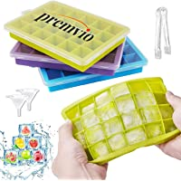 Premvio ™ Ice Cube Trays 3 Pack with Funnel and Tong, Silicone Ice Tray with Removable Lid Easy-Release Flexible Ice…