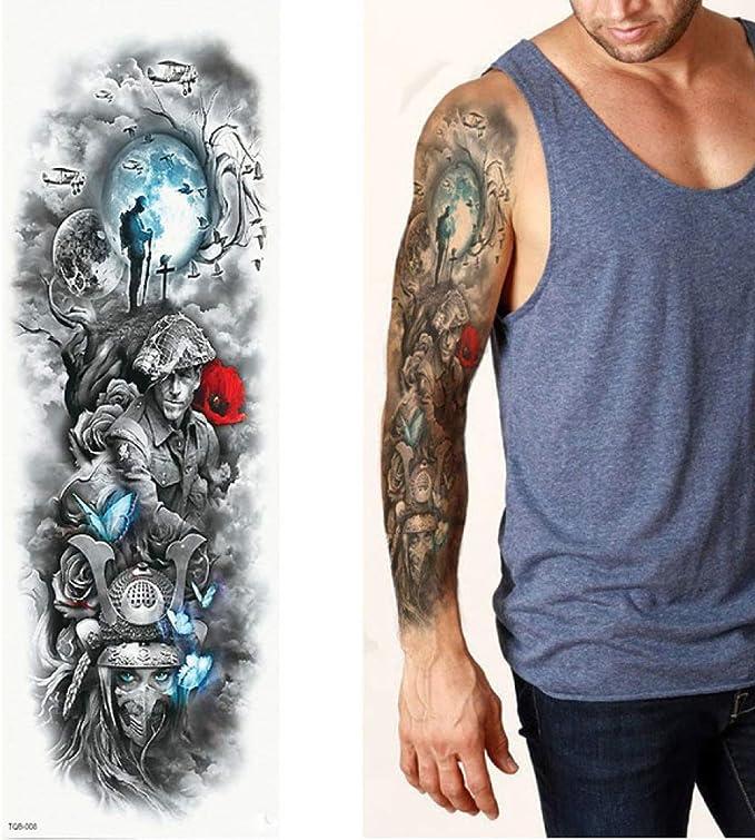 7pcs Hojas de tatuaje grande Brazo completa del tatuaje del ...