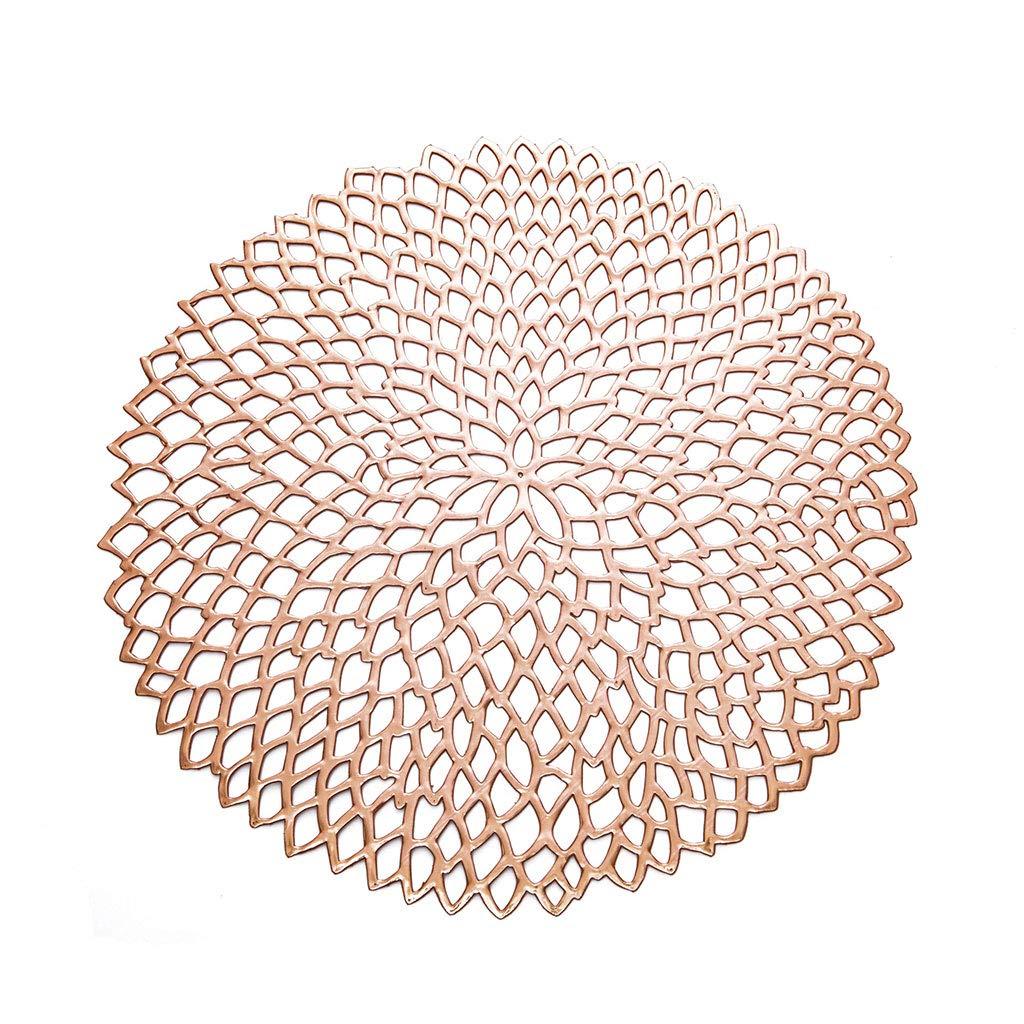 Oro Rosa VIccoo 38 cm Forma Redonda Vajilla de Comedor Almohadilla Hollow out Flor Aislamiento Decorativo Mantel Individual Met/álico PVC Coaster Pads Bowl Mats