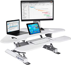"Mount-It! White Corner Standing Desk Converter | Height Adjustable 48"" Wide Desktop 