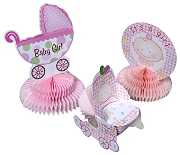 Baby Shower Decorations   6 Pieces Girl Theme Baby Shower Table  Centerpieces Party Supplies, Pink