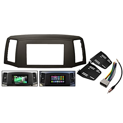Double Din Navigation Radio Bezel Dash Install Kit with Standard Wiring Harness and Antenna Adapter - Khaki Fits Jeep Grand Cherokee 2005-2007: Car Electronics