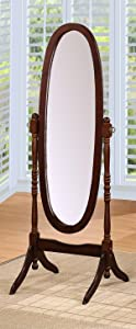 Queen Ann Style Cheval Floor Wood Mirror Espresso Finish