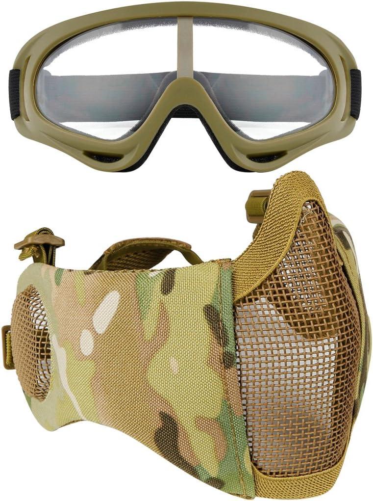 Fansport Mesh Mesh Mask Máscara Ajustable Máscara Ajustable Máscara Ajustable Airsoft con Gafas de Seguridad
