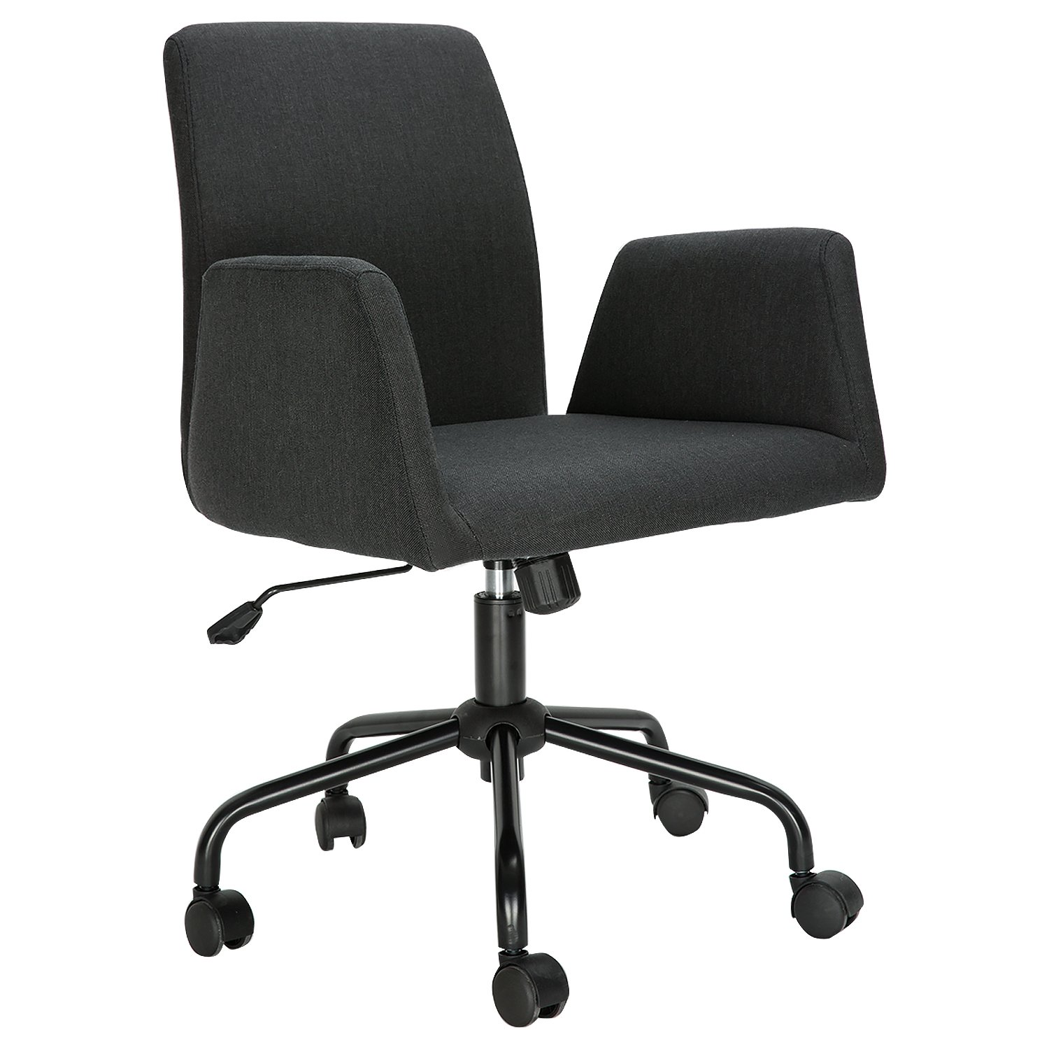 HollyHOME Fabric Home Office Chair,Leisure Chair with Adjustable Height, Black