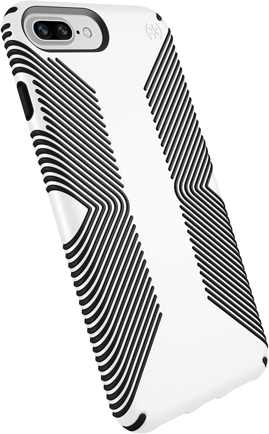 Speck Products Presidio Grip Case for iPhone 8 Plus (Also fits 7 Plus and 6S Plus/6 Plus), White/Black - 103122-1909