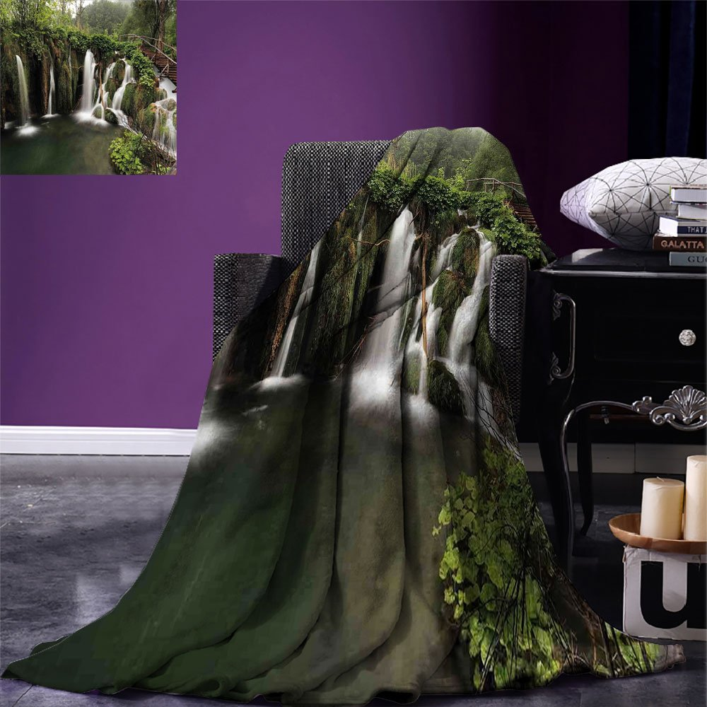 smallbeefly Waterfall Digital Printing Blanket Circled Waterfalls in Crotia Europe with a Rustic Wood Cute Bridge aside Summer Quilt Comforter Green and Brown