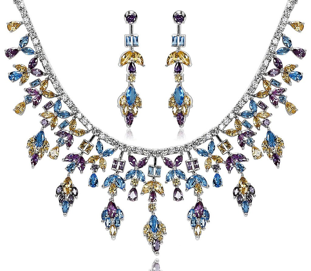 Epinki Silver Plated Ear Of Leaf CZ Crystal Yellow Purple Blue Necklace Stud Earring Jewelry Set