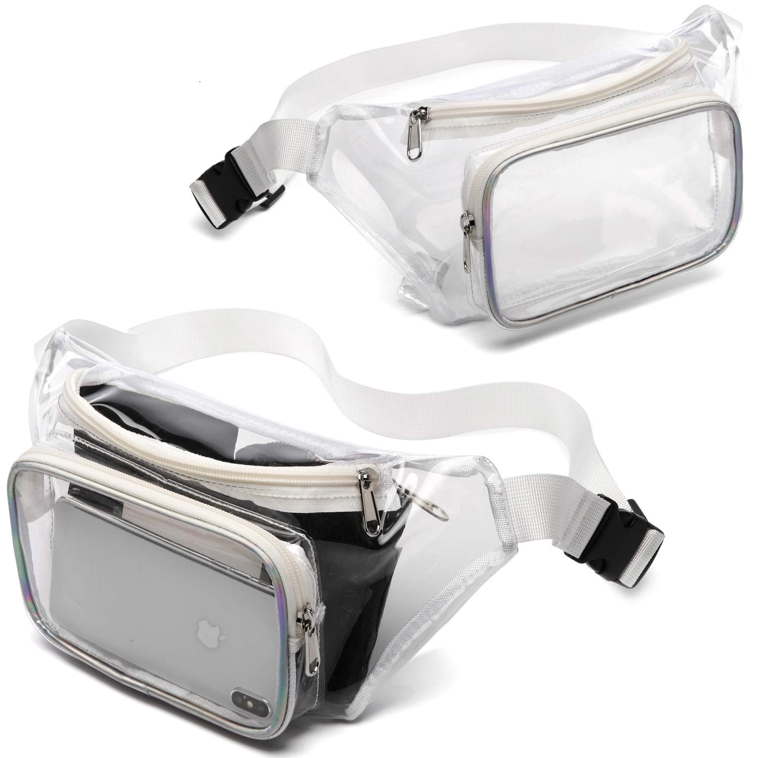 71f1625cea91 Clear Fanny Pack, iSPECLE 2 Pack Clear Bag Approved for NFL, PGA, NCAA,  Adjustable Waist Strap for Clear Purse,White