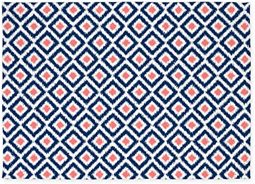 CafePress Navy Blue Coral Ikat Pattern 5'X7'Area Rug Decorative Area Rug