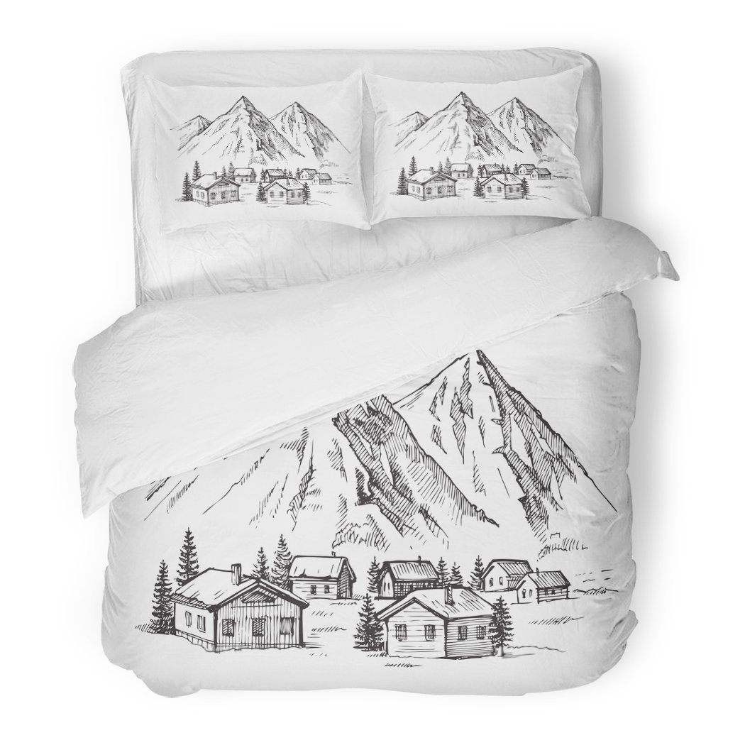 SanChic Duvet Cover Set Lodge Wood Cabin in Winter Landscape Mountain Sketch Alpine Decorative Bedding Set with 2 Pillow Shams King Size
