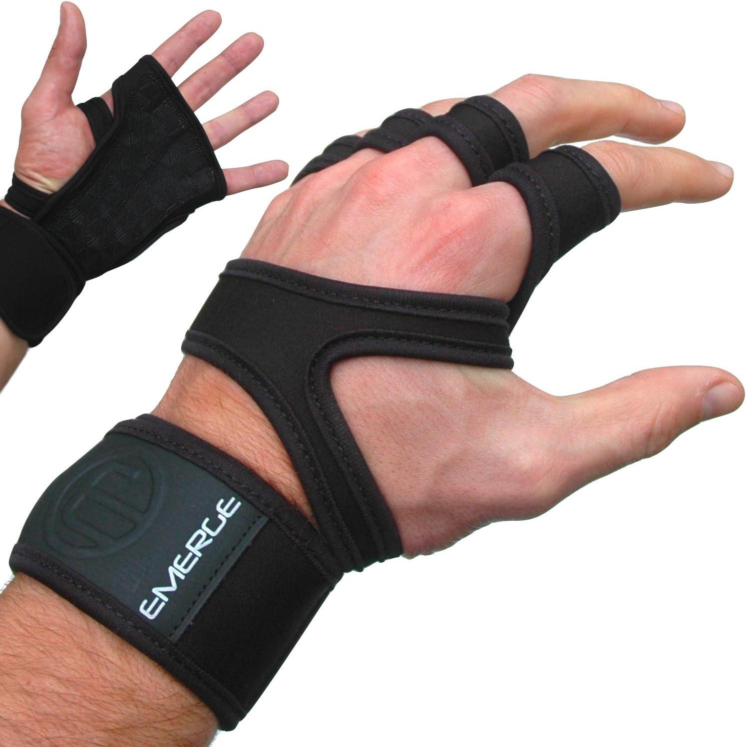 Pull Up Gants de fitness–Unique solide à la main protecteurs pour poignet avec poignées–confortable pour gymnastique et WOD Cross Training–mieux que Gants d'haltérophilie Coussinets d'ou Emerge–100% garantie