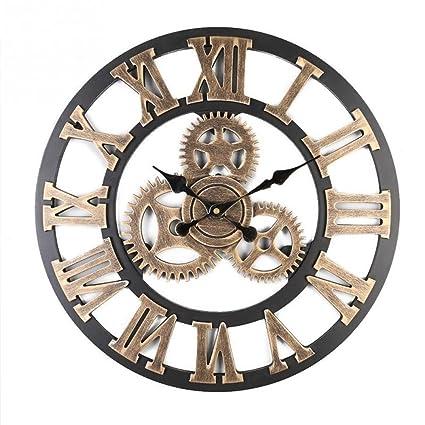 Shhyy Vintage Retro Europeo Decorativo 3D Hecho a Mano Engranaje de Madera Reloj de Pared Digitales