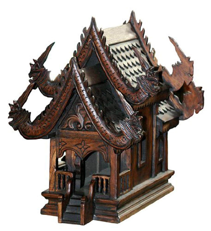 Thai Spirit House SanPraPhum Large Actual Size Thai Buddhist Wood Carving for Spiritual Haunted Spirit House Temple