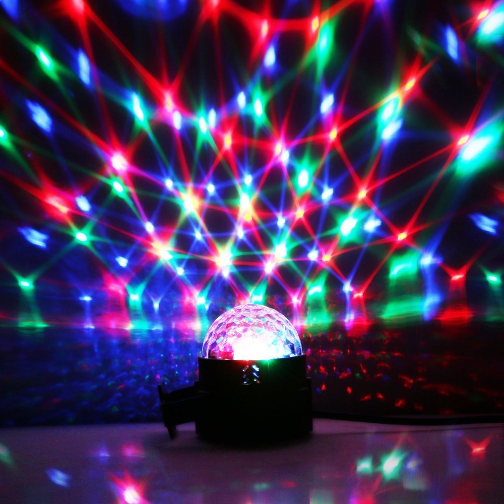 Hochzeit Musik-aktiviert Discokugel-Lichter Pub 4 Farben Partylichter DJ-Lichter Party RGBP Stroboskoplicht magische rotierende LED-B/ühnenlichter f/ür Geburtstag Fernbedienung KTV-Bar