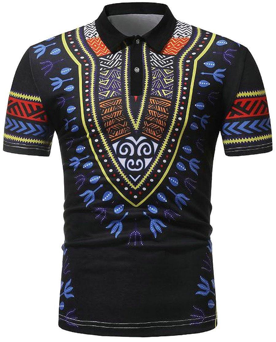 Blyent Mens Summer Lapel Printed Dashiki Short Sleeve Polos T-Shirts