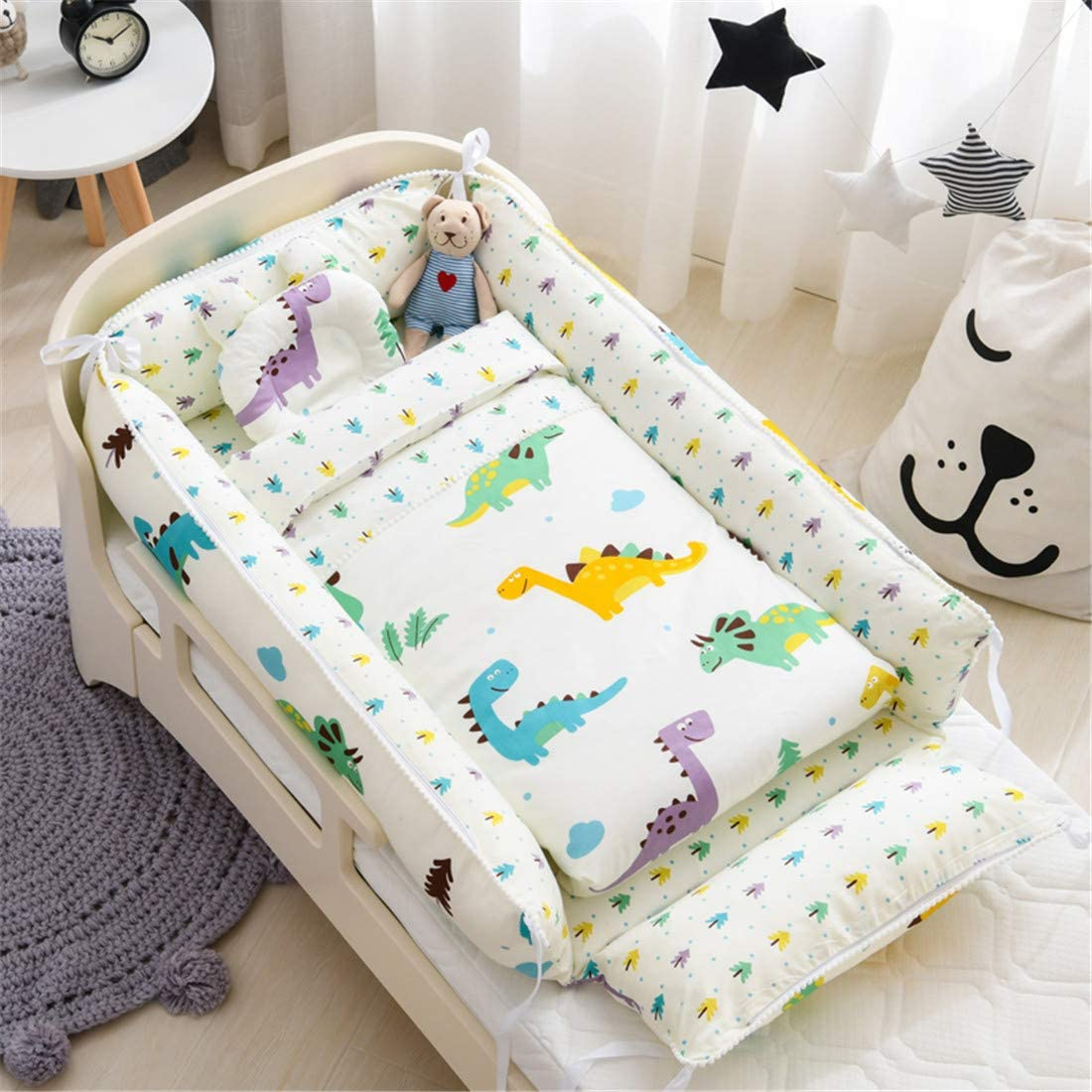 Ustide Baby Bassinet Breathable Skin-Friendly 100/% Cotton Portable Hypoallergenic Newborn Sleeping Bed White Bear Print Girls Boys Soft Warm Cradle Baby Gift