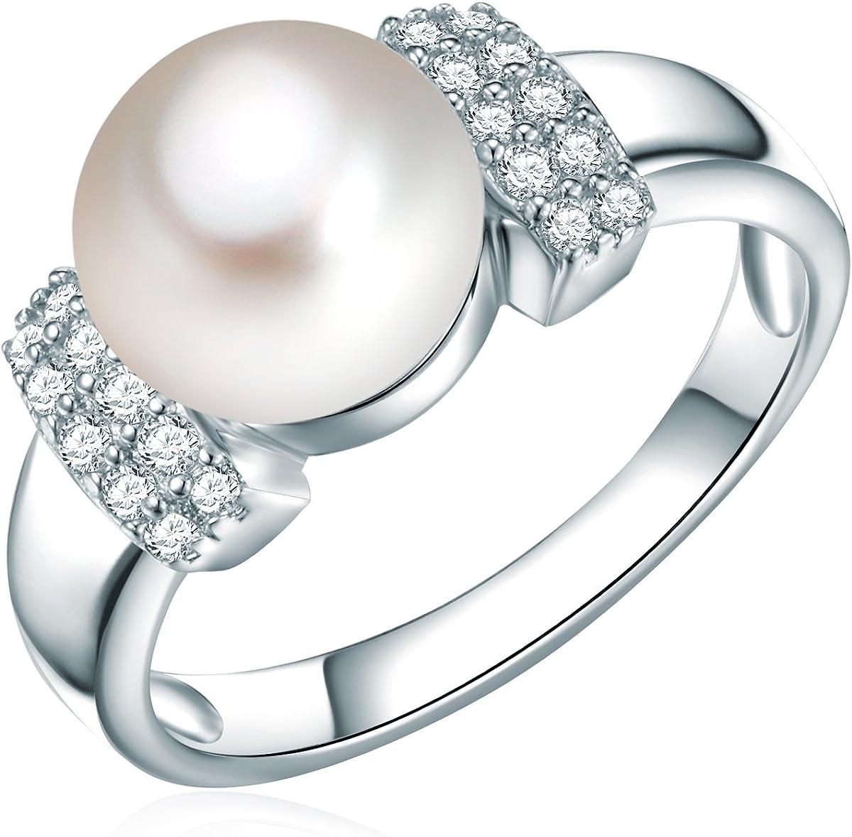 Valero Pearls Plata de ley 925 Perlas de agua dulce de cultivo Circonita Anillo de perlas