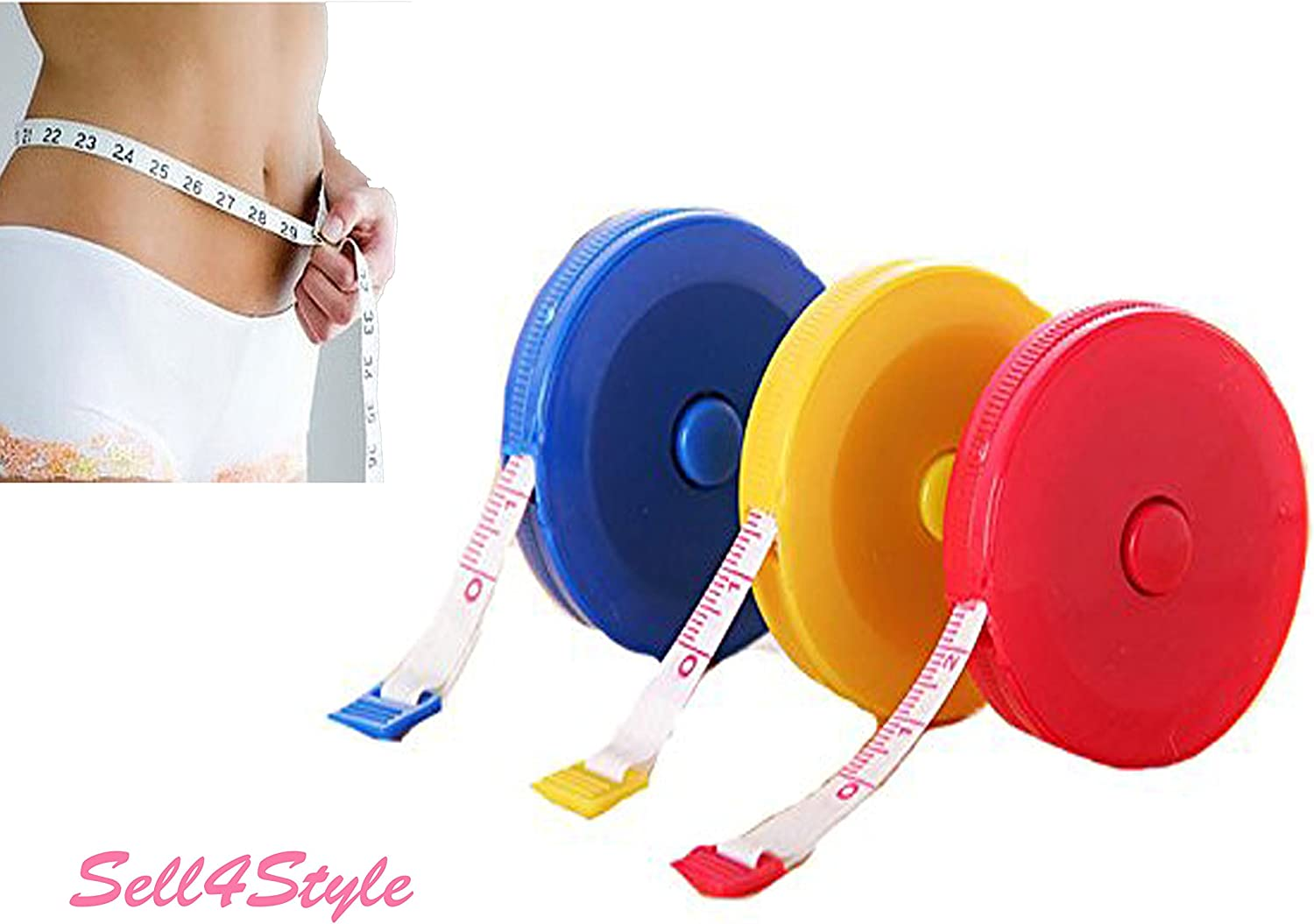 Sell4Style Body Tape Measure Automatic Retractable Measuring Tape Set 60 Inches 1.5 Meter Blue 2 Pack