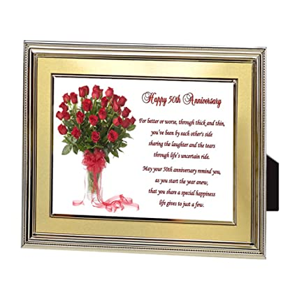 Amazon.com - 50th Fifty Years Wedding Anniversary Poem in Gold Frame ...