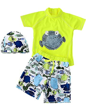 87b1d182e JELEUON Baby Kids Boys Two Pieces Short Sleeve Swimwear Sun Protection  Cartoon Swimsuit with Caps
