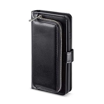 8829b9ed00 iPhone7 Plus ケース 手帳型 iPhone8 Plus レザーケース iPhoneケース ファスナー設計 鍵/おつり