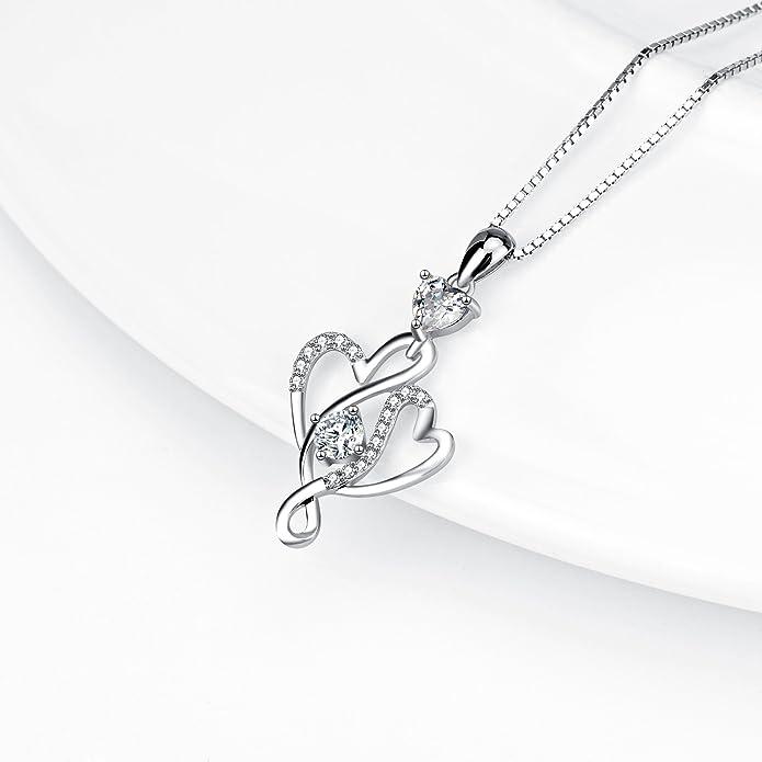 SilverLuxe Sterling Silver Interlocking Hearts Cubic Zirconia Pendant Necklace