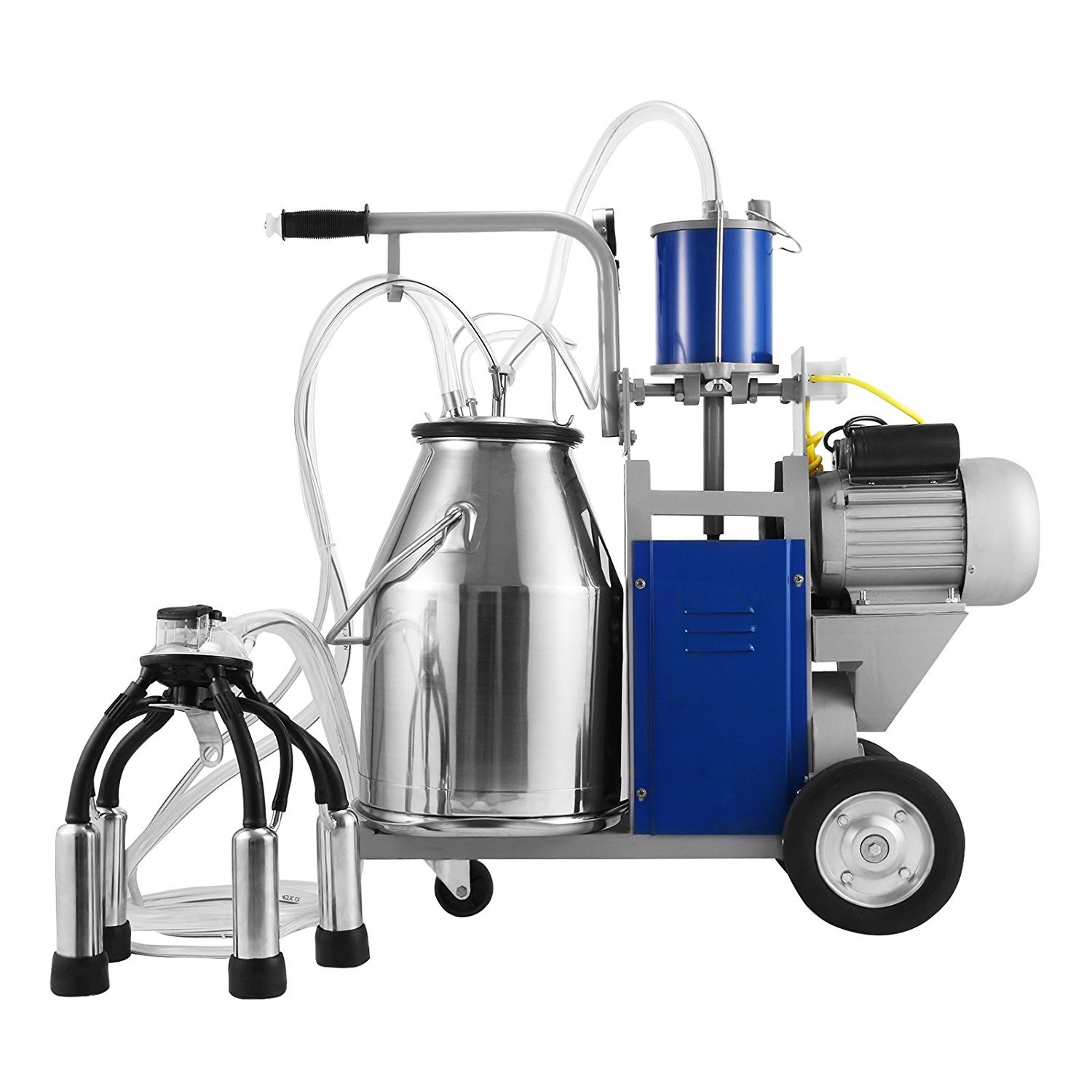 BestEquip Milking Machine 1440 RPM 10-12 Cows per Hour Electric Milking Machine with 25L 304 Stainless Steel Bucket Milk Machine for Cows by BestEquip