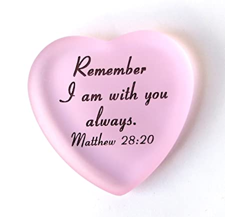 Scripture Heart With Pouch Remember I Am With You Always Matthew