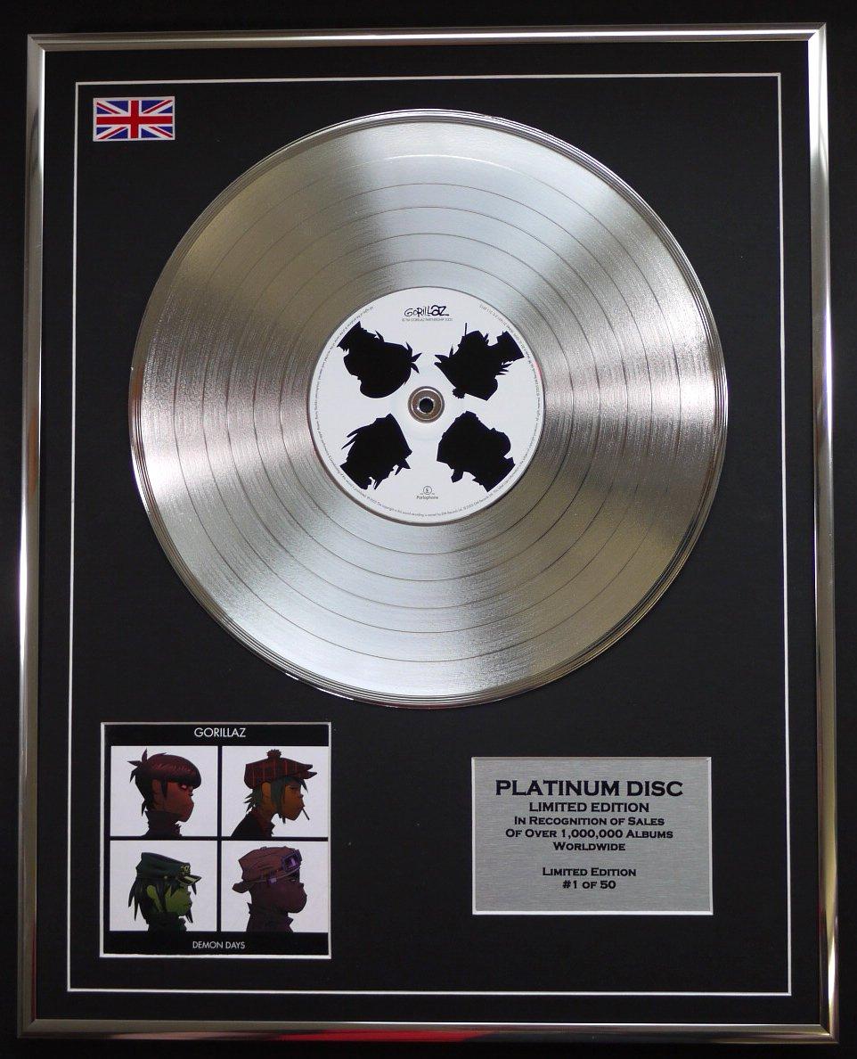GORILLAZ//LTD EDITION CD PLATINUM DISC//DEMON DAYS