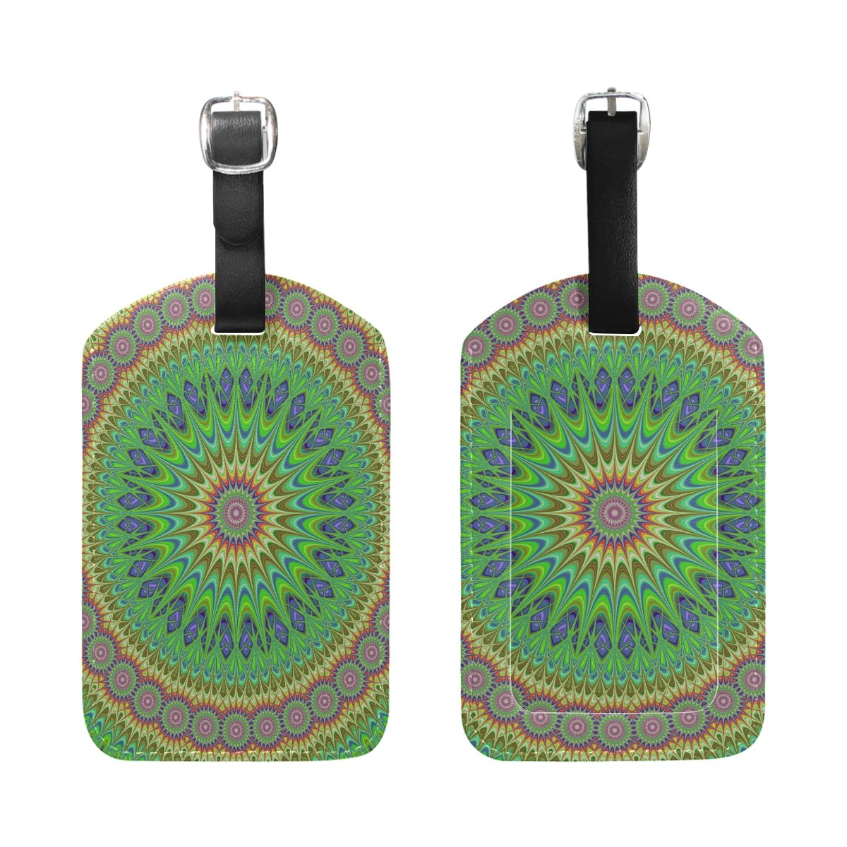 Saobao Travel Luggage Tag Colorful Mandala Fractal Design Background PU Leather Baggage Suitcase Travel ID Bag Tag 1Pcs