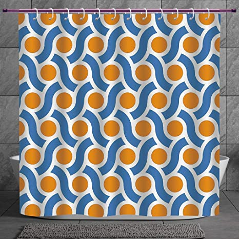 Orange Shower Curtain Abstract Digital Waves Print for Bathroom