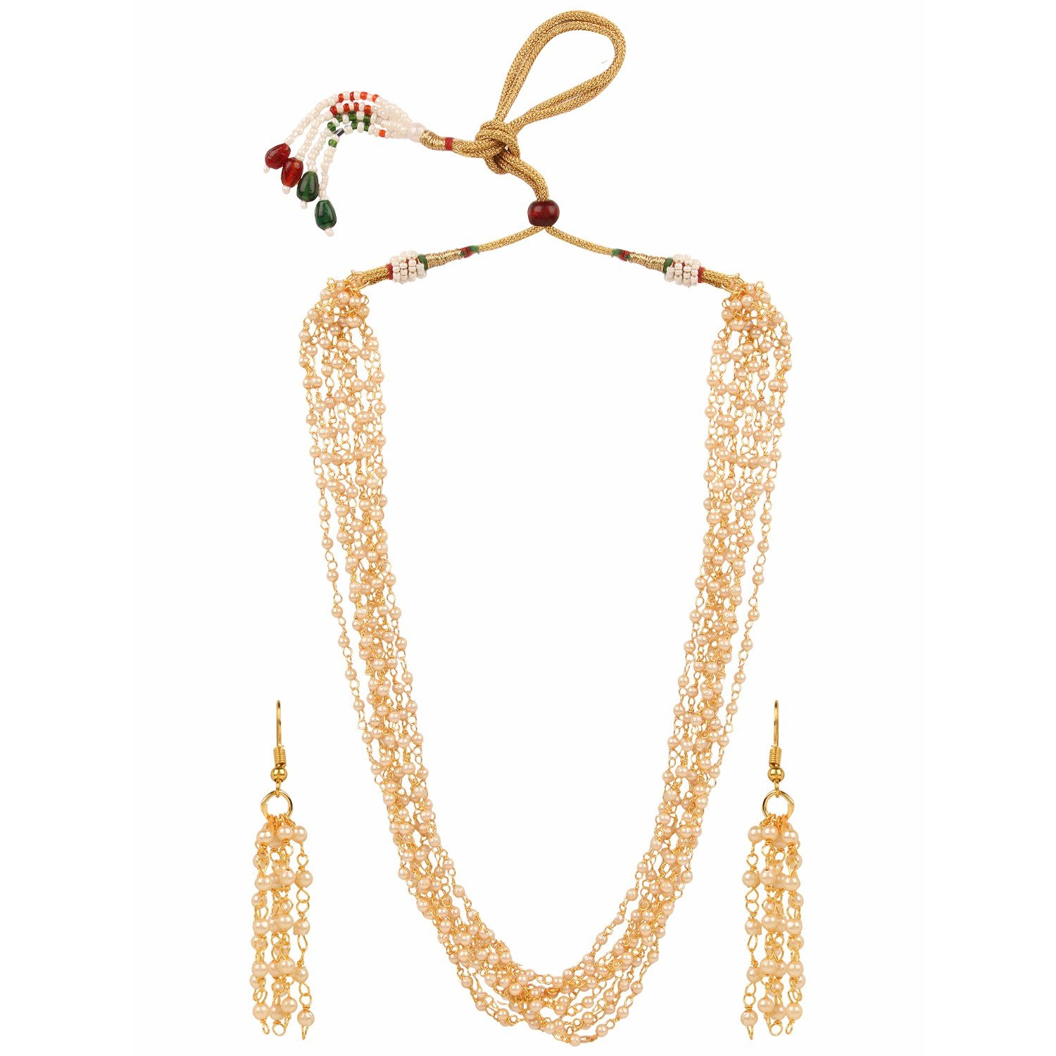 Indian Traditional Gold Plated Multi Pearl Strand Necklace Jewelry Set with Earrings for Girls & Women