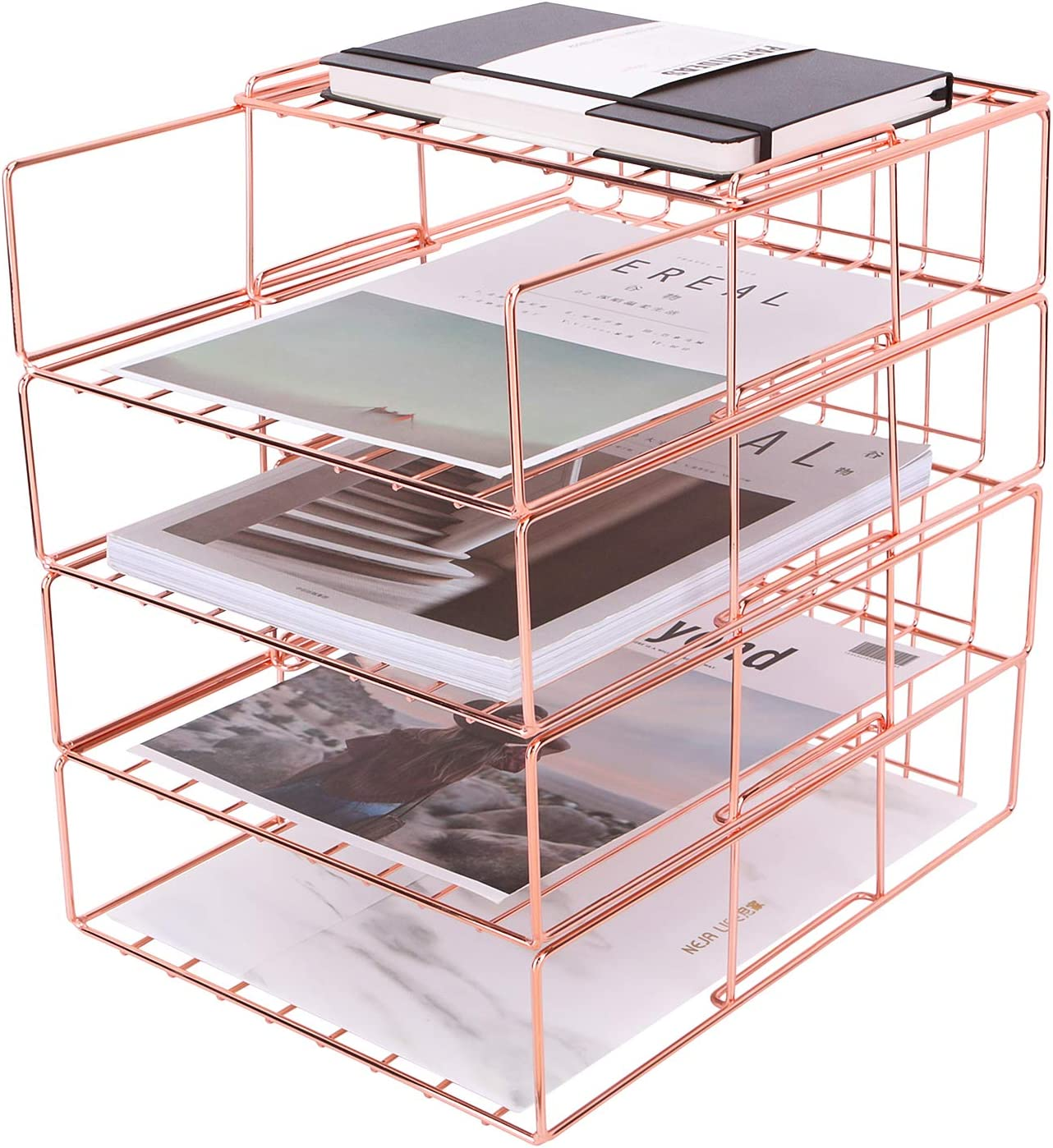 Nugorise Stackable File Tray 4 Tier Paper Organizer Tray Wire Desk File Sorter Shelf For Mail Magazine Document Folder Book And More Rose Gold Kitchen Dining