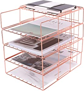 Nugorise Stackable File Tray, 4 Tier Paper Organizer Tray, Wire Desk File Sorter Shelf for Mail, Magazine, Document, Folder, Book and More, Rose Gold