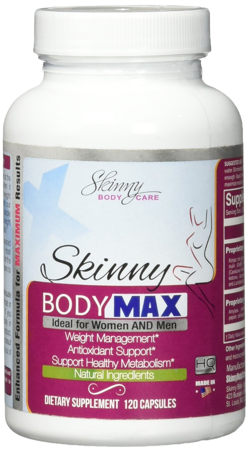 Skinny Body Max - All Natural Appetite Suppressant and Weight loss Supplement - 120 Capsules by Skinny Body Max