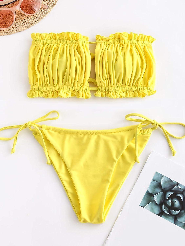 schulterfrei Bandeau mit Kordelzug /& R/üschen High Cut Einfarbig Bademode ZAFUL Damen Bikini Set