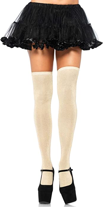 129d1e3eb5f3c Amazon.com: Leg Avenue Women's Lurex Glitter Thigh Highs, Gold, One ...