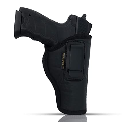 IWB Gun Holster by Houston - ECO Leather Concealment Inside The Waistband  with Metal Clip FITS Glock 17/21, H &K,Beretta 92 FS,XDM,Ruger 45, BERSA