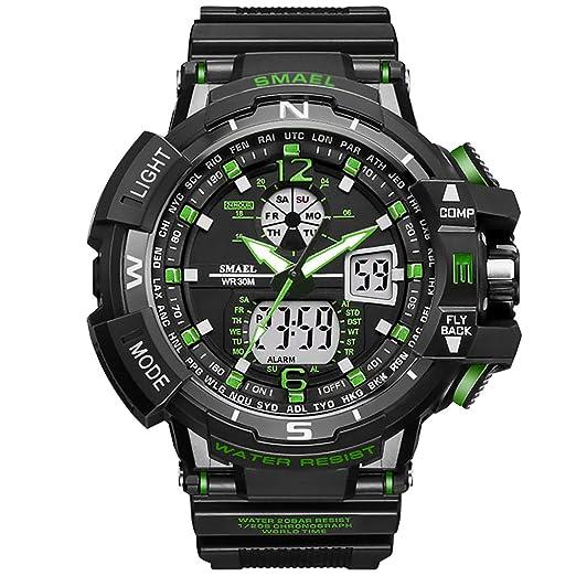 PAPAKOO Reloj de Pulsera Hombre Reloj Deportivo Militar Reloj Smart Moda Reloj de Pulsera Reloj Pulsera Digital LED-Green-WCH1376-GN: Amazon.es: Relojes