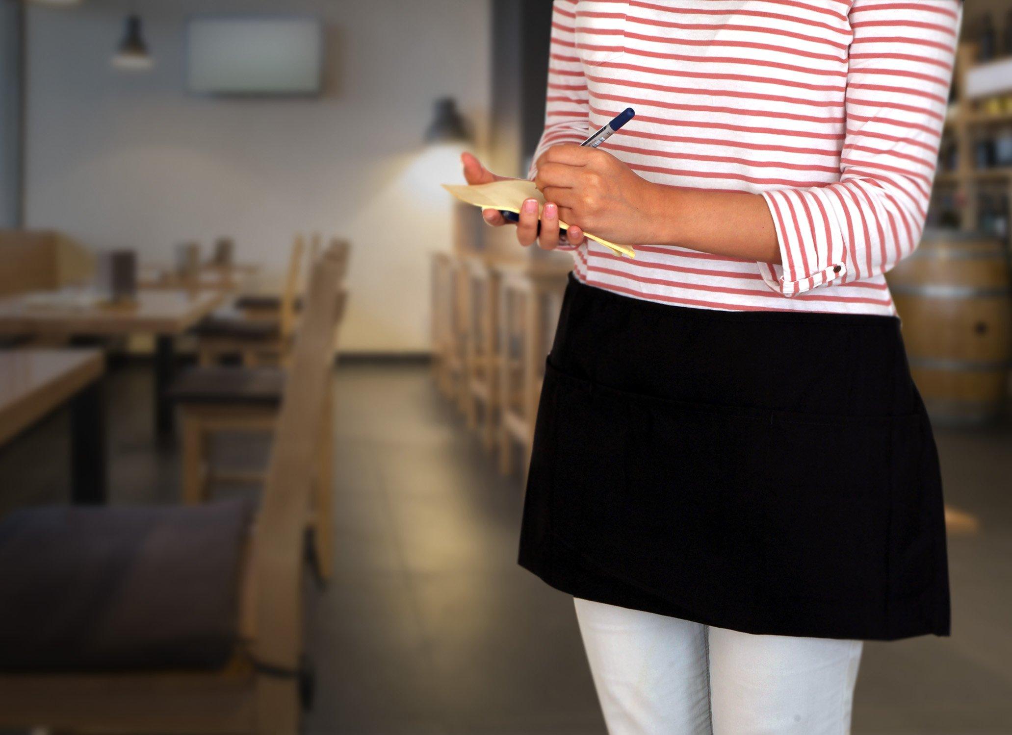 Utopia Kitchen 3 Pockets Waist Apron (Set of 12, Black, 24 x 12 inches) - Restaurant Half Aprons, Bartender Apron, Money Apron, Check Holder by Utopia Kitchen (Image #8)
