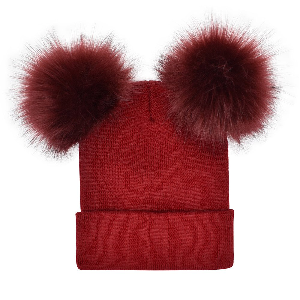 Women Winter Slouchy Beanies Hats Faux Fur Turn Up Pom Pom Cable Knit Hat Ski Caps (Wine)
