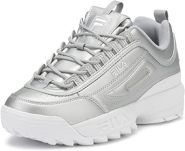 Fila Mujer Metallic Plata Disruptor II Premium Zapatillas UK