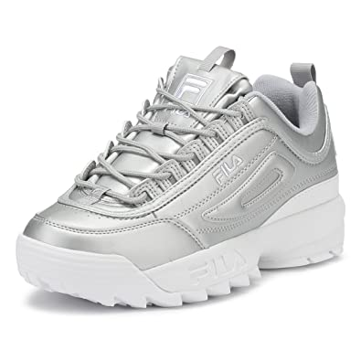 Fila Womens Metallic Silver Disruptor II Premium Trainers-UK 8 ... 47e7b89be1