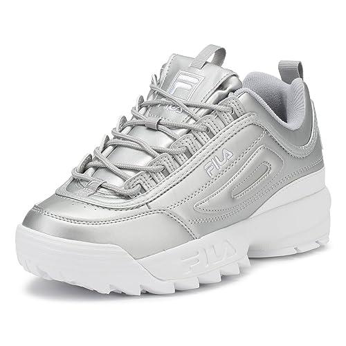 Fila Mujer Metallic Plata Disruptor II Premium Zapatillas-UK 8: Amazon.es: Zapatos y complementos