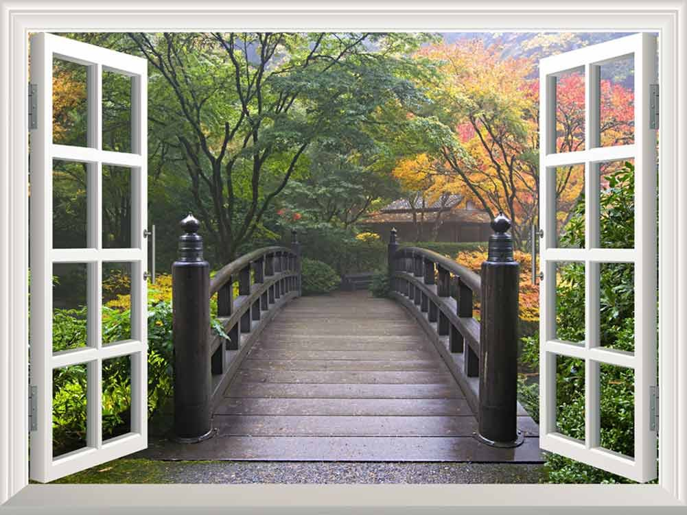Wall26   Modern White Window Looking Out Into A Bridge On A Japanese Garden    Wall Mural, Removable Sticker, Home Decor   36x48 Inches Part 56