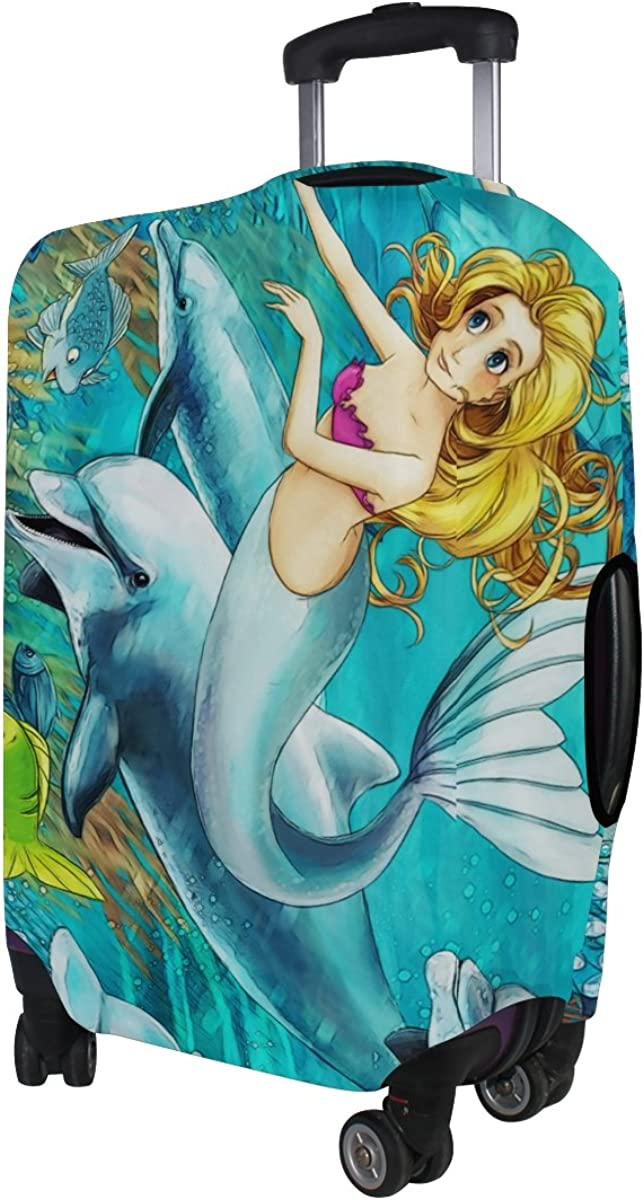 ALAZA Mermaid Dolphin Fish Polyester Luggage Suitcase Cover Case Protector